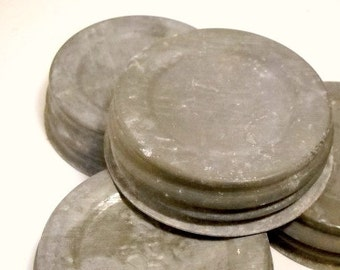 Vintage Zinc Lids with Milkglass Liners for Mason Jars, Canning Jars, Fits Regular Mouth Jars, Antique Zinc Lids