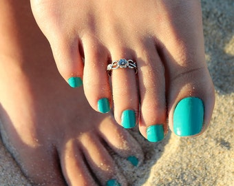 Sterling Silver Flower design Toe Ring Adjustable toe ring memory toe ring Also knuckle ring (T-15)