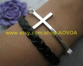 bracelets Retro silvery anchor December black rope bracelet hunger games arrow