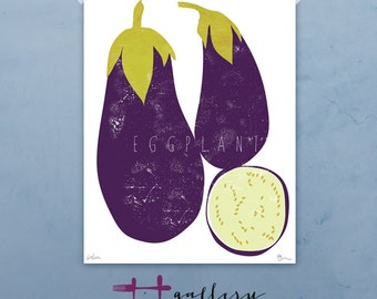 Eggplant vegetable graphic culinary art illustration signed artist's print
