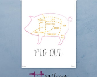 Pig Out graphic culinary art illustration signed artist's print 12 x 16