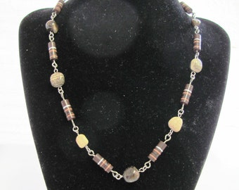 Beautiful Brown Resistors and Natural Stone Nugget Necklace