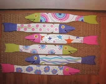 Six Hand Painted Fish Made From Salvaged Picket Fence