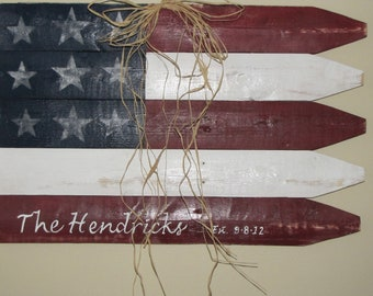 Personalized Custom Picket Fence American Flag made from Salvaged Picket Fence