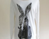 Bunny shirt Rabbit shirt rabbit Smoking Pipe Cigar T shirt Women T-Shirt Animal T-Shirt Sweater Long Sleeved Sweatshirt Screen Print Size L
