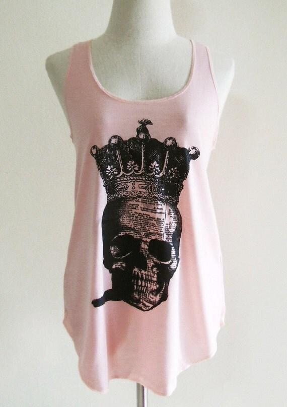 Skull Crown Art Style Skull Tank Top Art Skull Shirt Pink T-Shirt Tunic Screen Print Size S
