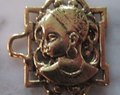 ONE Brass Ladies Face for Bracelet or Jewelry Making (face3)