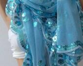Light Blue Turkish Shawl - Scarf..