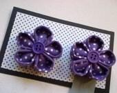 Purple polka dot flower shoe clips