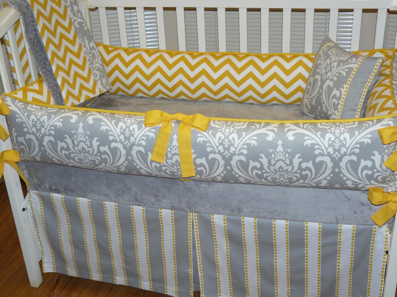 Grey Damask And Yellow Chevron 3pc Bedding Set