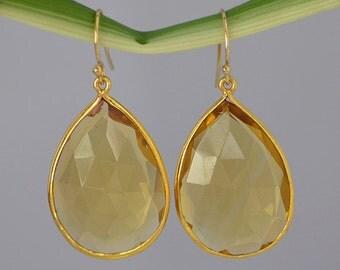 Citrine Earrings - Large Gemstone Earrings - Tear drop earrings - bezel set earrings - November Birthstone - gold earrings - dangle earrings