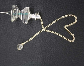 New Healing Crystal Faceted 2 Pieces Pendulum With Crystal Pagan ET A13/3