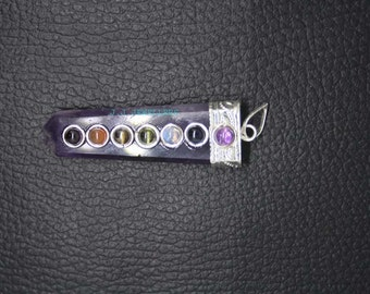 New Healing Amethyst Flat 7 Chakras Pencil Pendant With Metal ET A25/5