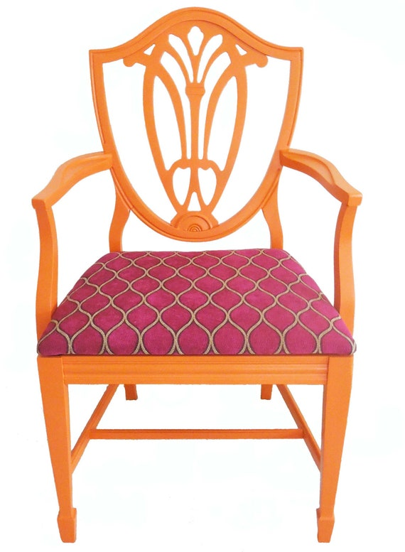 Vintage Refurbished Shield Back Orange Arm Chair