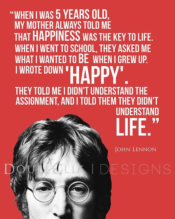 John Lennon Happiness Quote Poster John Lennon Poster