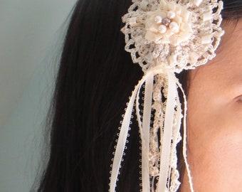 Ivory Hairclip Crochet Wedding Hair Piece Champaign Flower Pearl