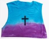 Tie Dye Ombre Blue to Purple Fade Cross Shirt SIZE M