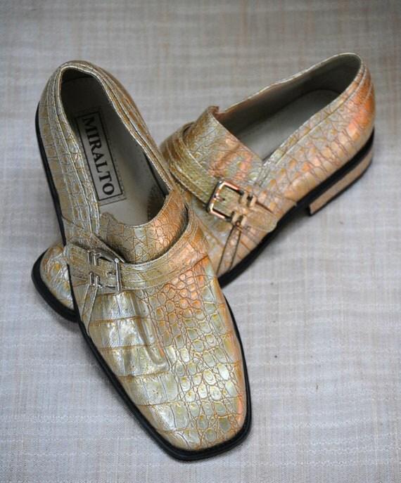 Vintage 1980s Gold Faux Alligator Shoes Men's Size 9 Miralto
