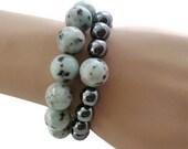 Stretch Bracelets - Sesame Jasper Bracelet - Hematite Bracelet - Jewelry Set - Elastic Bracelet - Gemstone Bracelet - Stackable Bracelet