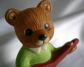 Darling Bear Playing Guitar Figurine - Signed HOMCO - Vintage Mint