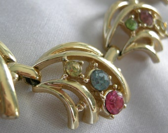 Gold Tone Choker Necklace with Multi Color Rhinestones - Unsigned - Vintage