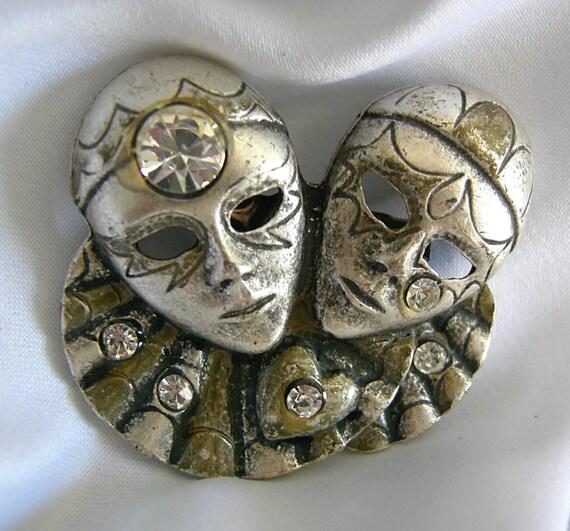 Heavy Silver Tone and Rhinestone Mardi Gras Clown Masquerade Mask Brooch - Unsigned - Vintage