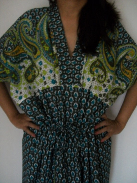 Paisley Kaftan , Caftan, Perfect long dress, For to be Moms, beach cover up, Sleepwear, Best Gift for her