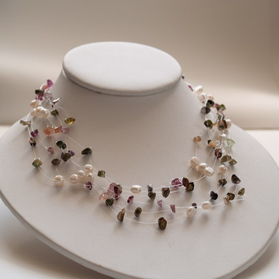 Charming tourmaline and Pearl Sterling Silver multi strand Floating Necklace