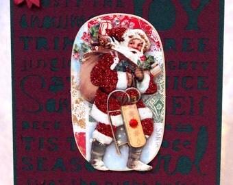 vintage inspired handmade Christmas card
