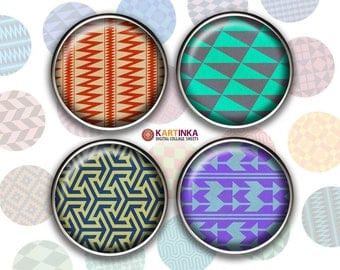 1 inch, 1.5 inch Printable GEOMETRIC PATTERNS images for resin Pendants Bezel settings Magnets Bottle caps Jewelry Making, Glass Cabochon