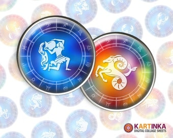 HAPPY HOROSCOPE - 1 inch and 1.5 inch Circles Digital Collage Sheet Printable Download for Pendants Magnets