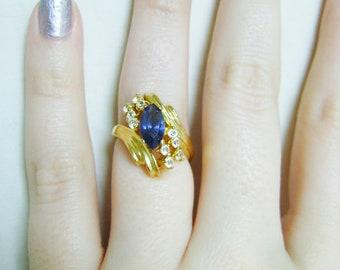 Vintage Faux Sapphire Ring - 1980s Gold Tone White Rhinestone Costume