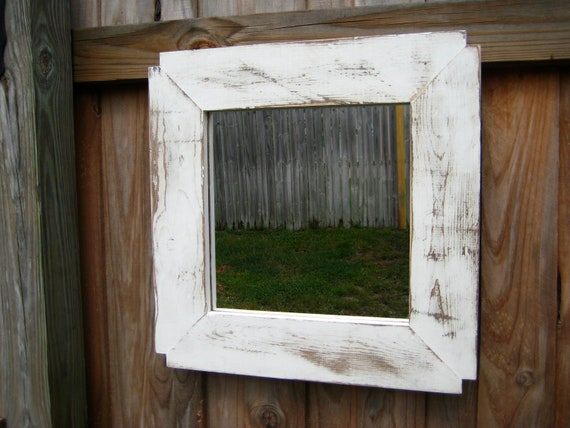 12X12 mirror in distressed solid wood frame