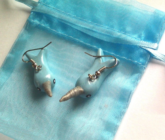 Nifty Baby Blue Narwhals Earrings