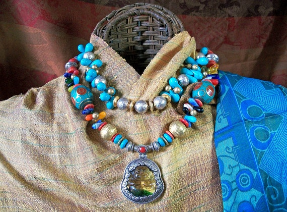 Treasured Happy Buddha with Glorious Stunning Colorful International Beads and Silver