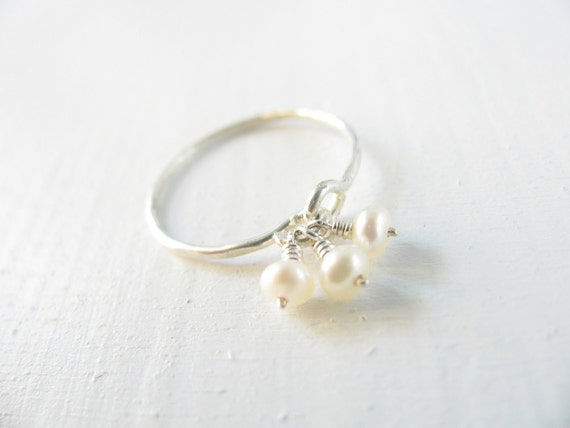 Pearl ring, silver ring, pearl engagement ring, stacking ring, gold ring, bridal jewelry, statement ring, vintage inspired ring, weddings