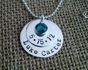 Mom Necklace - Grandma Necklace - Custom Name Date Necklace - Stamped Evermore
