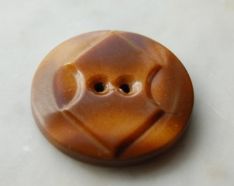 "Vintage Celluloid  Art Deco tight top button in 2 shades of brown, 2 holes and 1 1/2"" diameter 1930's sewing notions"