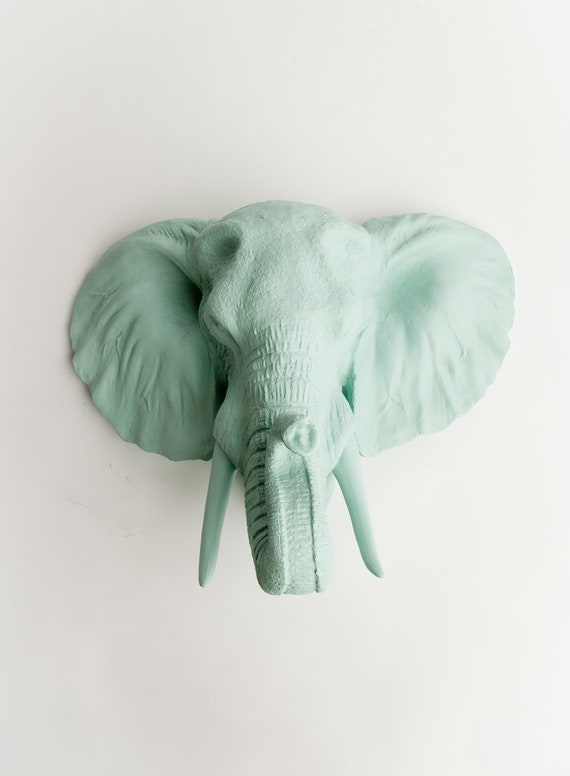 The Sydney Faux Elephant Head Wall Decor - Seafoam Resin Faux Elephant - Elephant Wall Mount Taxidermy- Fake African Elephant Head Safari