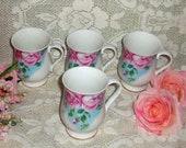 Sutherland Fine Bone China Mugs, Set of 4 China Mugs, English Bone China - Country French, Cottage Chic, Romantic Kitchen