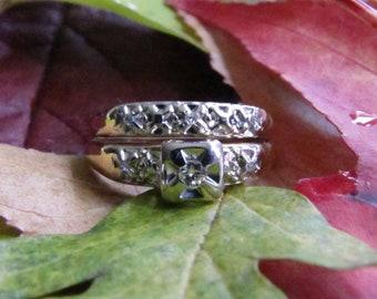 Antique Diamond Wedding Set, Mid Century Engagement Ring, Gold Wedding Band