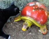 Wonderful Tonala Mexico big red paper mache turtle, vintage, signed folk art, bird and flower motif