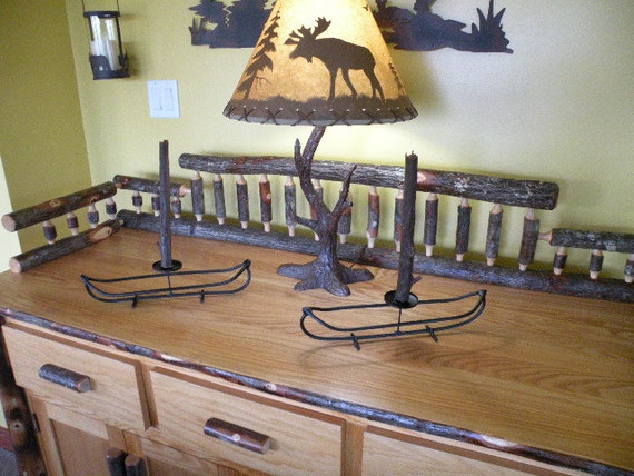 Canoe candle stick holder, unique one of a kind design. for dinning room table camp lodge or cabin
