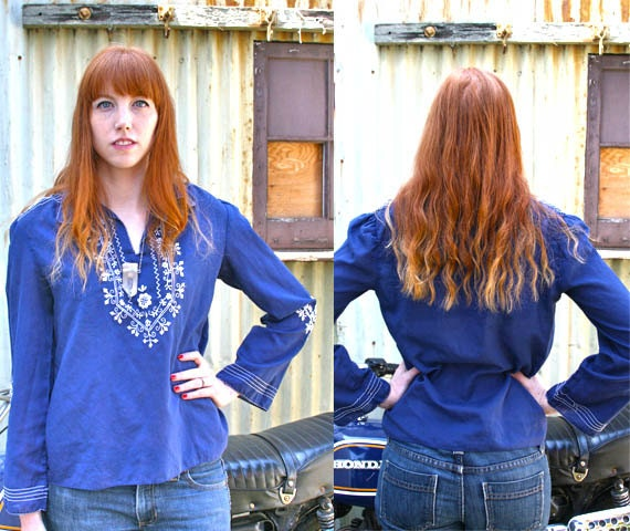 1970s Embroidered Hippie Blouse // Bohemian Bell Sleeved Cotton Top