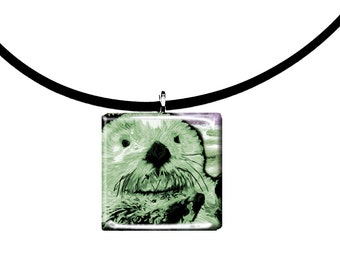pastel green, Sea Otter pendant, hand painted unique artwork, Adorable Otter, Glass tile penant, sage green colors