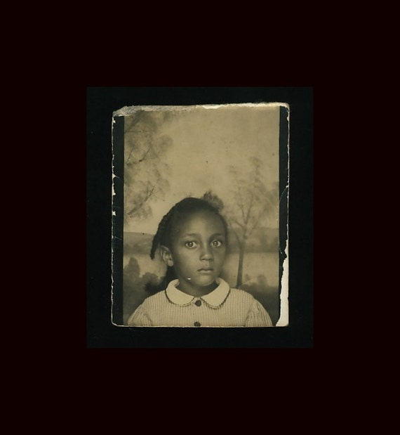 Young African-American Girl Photo Booth: c.1940s Vintage Photo