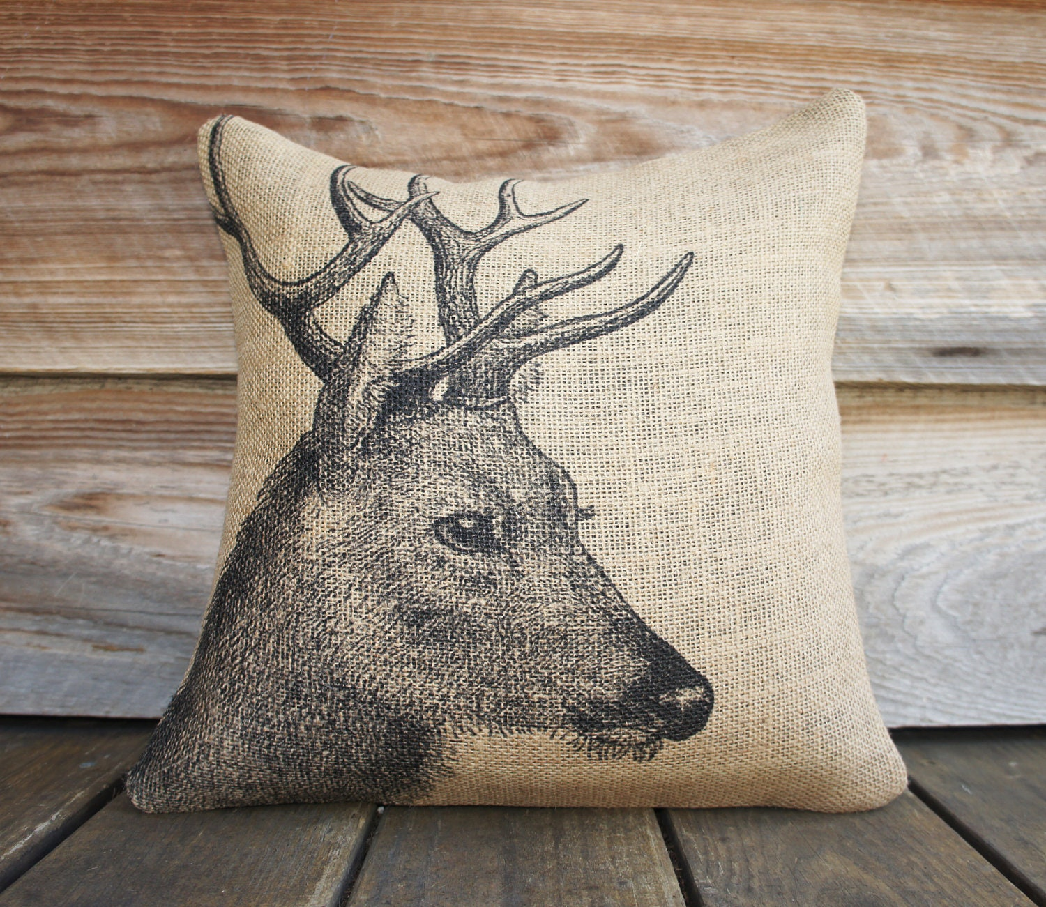 Throw Pillows Deer : Deer Pillow, Burlap Pillow, Cushion, Rustic, Decorative Throw Pillow, Log Cabin, Woodlands ...