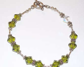 Sterling Silver Peridot Green & Clear Swarovski Crystal and Sterling Beaded Single Decade Rosary Bracelet