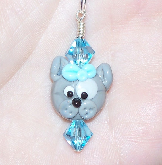 Handmade Little Gray Dog With Blue Bow Lampwork Pendant with Swarovski Crystals on a SilverTone Ball Chain
