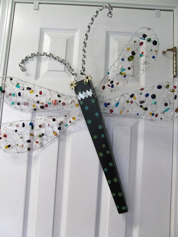 Jeweled Table Leg Dragonfly Wall Art- Polka Dot and Beaded with wire and glass beads